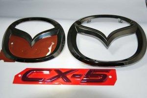 画像1: エンブレム ブラックメッキ・レッドメッキ【マツダ CX-5 KE2FW/KEEFW】3点セット(グリル用マツダマーク、リアマツダマーク、CX-5ロゴ)
