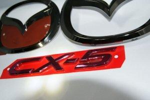 画像2: エンブレム ブラックメッキ・レッドメッキ【マツダ CX-5 KE2FW/KEEFW】3点セット(グリル用マツダマーク、リアマツダマーク、CX-5ロゴ)