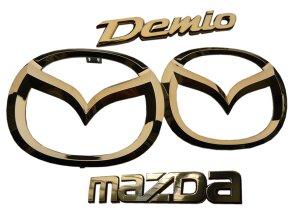 画像1: カラーメッキエンブレム【マツダ デミオ  DE3FS】4点セット(フロントグリル用マツダマークオーナメント、リアマツダマーク、MAZDAロゴ、DEMIOロゴ)