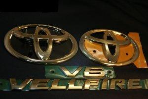 画像1: 送料無料 最高級ゴールドメッキエンブレム 4点セット 【20系 ヴェルファイア toyota】 フロントグリル用トヨタマーク、リアトヨタマーク、ヴェルファイアロゴ、V6